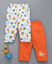 Babyhug Full Length Lounge Pant Giraffe Print Pack of 2 - White Orange