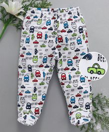 Babyhug Bootie Leggings Car Print - White
