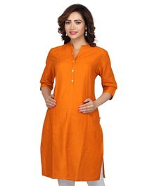 Kriti Three Fourth Sleeves Solid Maternity Kurti - Orange