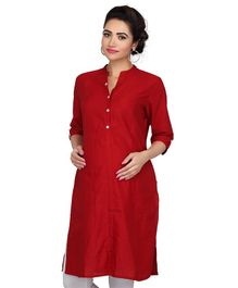 Kriti Three Fourth Sleeves Solid Maternity Kurti - Maroon