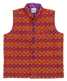 Raghav Flowery Print Nehru Jacket - Orange