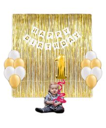 Party Propz 1st Birthday Decoration Combo Golden - 30 pieces
