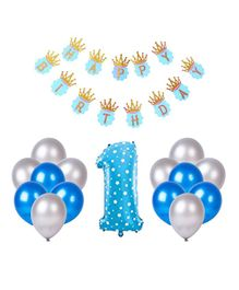 Party Propz Birthday Decoration Set With Foil Balloon Blue Silver - 27 pieces