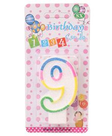 B Vishal Decorative Numeral Candle 9 - Multicolor