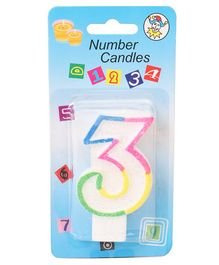 B Vishal Decorative Numeral Candle 3 - Multicolor