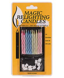 B Vishal Magic Relighting Candles Pack of 10 - Multicolour