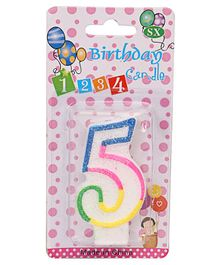 B Vishal Decorative Numeral Candle 5 - Multicolor