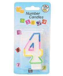 B Vishal Decorative Numeral Candle 4 - Multicolor