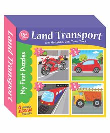 Art Factory 4 in 1 Land Transport Puzzle Set - 15 Pieces