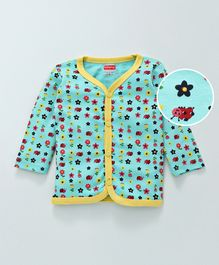 Babyhug Full Sleeves Cotton Vest Butterfly Print - Sea Green Yellow