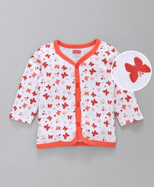 Babyhug Full Sleeves Cotton Vest Butterfly Print - White Orange