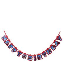 Marvel Happy Birthday Banner Spider Man Print - Red Blue