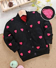 8a1285417bd Yellow Apple Full Sleeves Sweater Heart Embroidery - Black