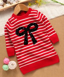 Yellow Apple Full Sleeves Sweater Sequin Bow Design - Red