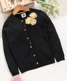 Yellow Apple Full Sleeves Sweater Floral Applique - Black