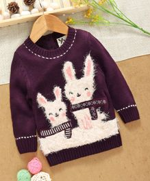 Yellow Apple Full Sleeves Sweater Bunny Design - Purple