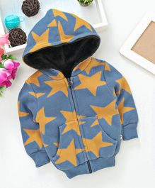 Yellow Apple Full Sleeves Hooded Sweat Jacket Star Design - Blue Yellow