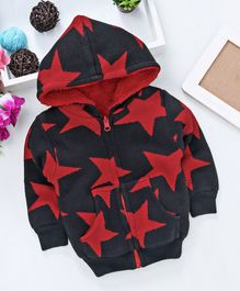Yellow Apple Full Sleeves Hooded Sweat Jacket Star Design - Black Red