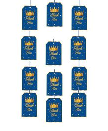 Party Propz Prince Theme Thank You Tags Blue - Pack of 12