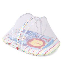 Fisher Price Mattress With Mosquito Net And 1 Pillow Lion & Monkey Print - Multicolor