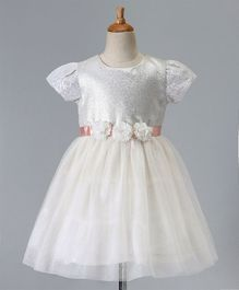 Babyoye Short Sleeves Embellished Frock With Flower Applique - White