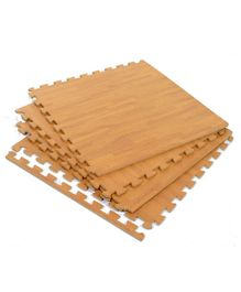 Yoto EVA Wooden Texture Floor Interlocking Play Mat - Set Of 4 Tiles