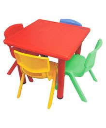 Yoto Square Plastic Table & Chair Set - Multi Color