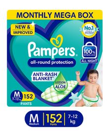 Pampers Pant Style Medium Size Diapers Monthly Box Pack - 152 Pieces