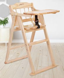 Wooden High Chair With Safety Harness - Brown