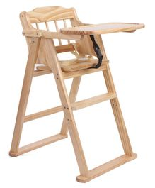 Wooden High Chair With Safety Belt - Brown