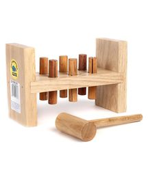 Little Genius Wooden Hammer & Pegs - Beige