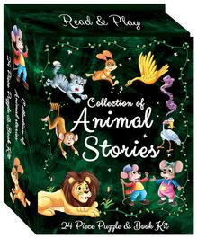 Art Factory Animal Stories Puzzle & Book Kit Green - Pack of 24 Pieces