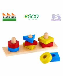 Eduedge Wooden Basic Shape Stacker - Multi Color
