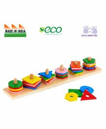 Eduedge Wooden Advance Shape Stacker - Multi Color