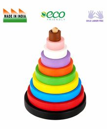 Eduedge Wooden Circle Stacker - Multi Color