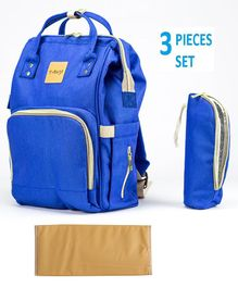 T-Bags Diaper Backpack With Bottle Holder & Changing Mat - Royal Blue