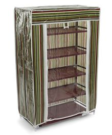 Striped 5 Shelves Storage Rack - Brown Green