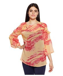 Oxolloxo Three Fourth Sleeves Maternity Top - Orange