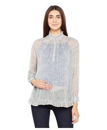 Oxolloxo Full Sleeves Maternity Top Animal Print - Off White
