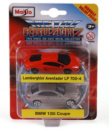 Maisto Metal Kruzers Die Cast Free Wheel Lamborghini Aventador LP 700-4 & BMW 135i Pack of 2 - Red & Silver
