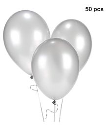 Balloon Junction Metallic Balloons Pack of 50 - Silver