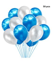 Balloon Junction Metallic Balloons Blue White - 50 Pieces