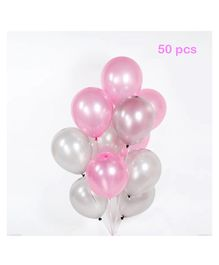 Balloon Junction Metallic Balloons Pack of 50 - Pink & Silver