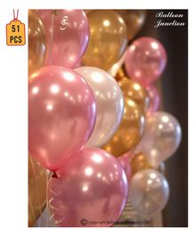 Balloon Junction Metallic Balloons Pack of 51 - Pink , Gold & White