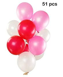 Balloon Junction Metallic Balloons Pack of 51 - Pink White & Red