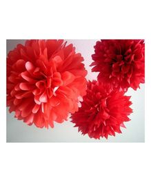 Balloon Junction Tissue Paper Pom Poms Red - Pack of 3 Pieces