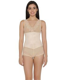 Clovia Sleeveless Sheer Patterned Body Suit - Beige