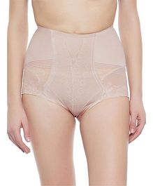Clovia Tummy Tucking High Waist Brief Patterned Sheer Fabric - Beige