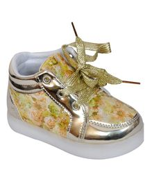 Passion Petals Printed LED Party Wear Shoes - Gold