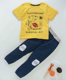 Scampy Printed Tee & Jogger Set - Yellow & Blue